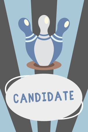Conceptual hand writing showing Candidate. Business photo showcasing demonstrating who applies for job or is nominated for election examination Bowling Pins standing same spot fall above Oval form