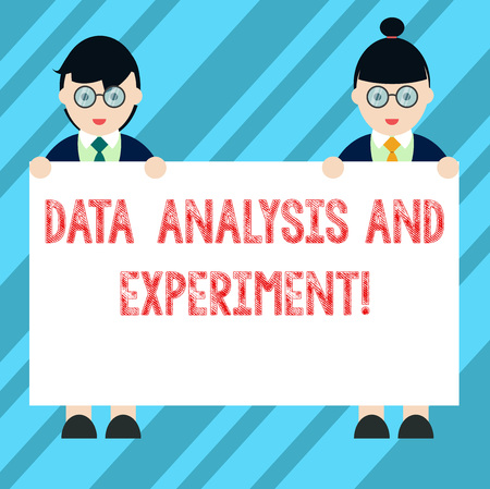 Text sign showing Data Analysis And Experiment. Conceptual photo Technological research statistics review Male and Female in Uniform Standing Holding Blank Placard Banner Text Space