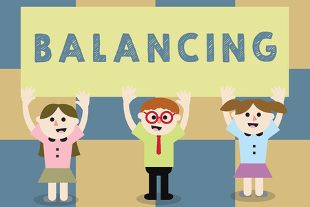 Conceptual hand writing showing Balancing. Business photo text put something in a steady position so that it does not fall School Kids with Arms Raising up are Singing Smiling Talking Stock Photo
