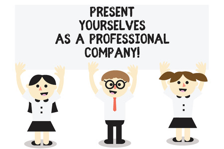 Word writing text Present Yourselves As A Professional Company. Business concept for Formal introduction of yourself Three School Kids with both Arms Raising upward are Singing Smiling Talking Stock Photo