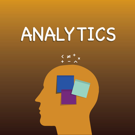 Writing note showing Analytics. Business photo showcasing systematic computational analysis of data statistics or infos Sticky Note analysis Face Profile Silhouette Math sign above Reklamní fotografie - 112998824
