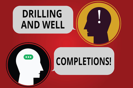 Writing note showing Drilling And Well Completions. Business photo showcasing Oil and gas petroleum industry engineering Messenger Room with Chat Heads Speech Bubbles Punctuations Mark icon