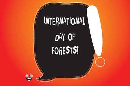 Handwriting text writing International Day Of Forests. Concept meaning Natural environment protection celebration Blank Color Speech Bubble Outlined with Exclamation Point Monster Face icon