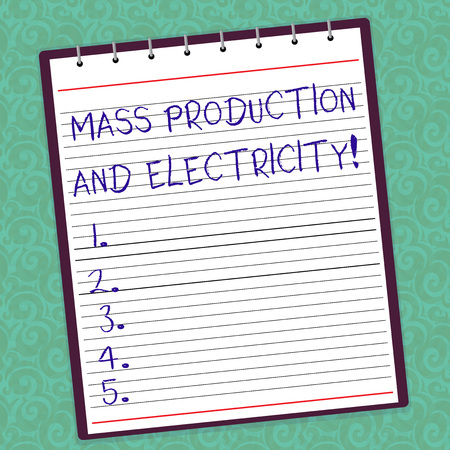 Writing note showing Mass Production And Electricity. Business photo showcasing Industrial electrical power supply Lined Spiral Top Color Notepad photo on Watermark Printed Background