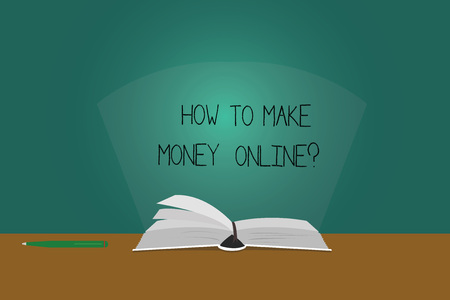 Writing note showing How To Make Money Onlinequestion. Business photo showcasing Strategies to get earnings on the internet Color Pages of Book on Table with Pen and Light Beam Glaring Reklamní fotografie