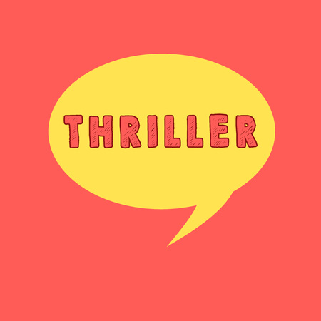 Handwriting text writing Thriller. Concept meaning novel play or film with exciting plot typically involving crime Speech Bubble Oval Shaped in Solid Color Circular Text Space with Tail 免版税图像