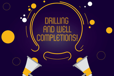 Writing note showing Drilling And Well Completions. Business photo showcasing Oil and gas petroleum industry engineering Two Megaphone and Circular Outline with Small on Color Background Standard-Bild