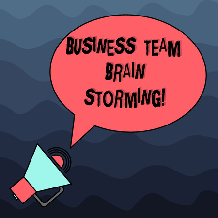 Text sign showing Business Team Brain Storming. Conceptual photo Team work corporate group working meeting Blank Oval Outlined Speech Bubble Text Balloon Megaphone with Sound icon