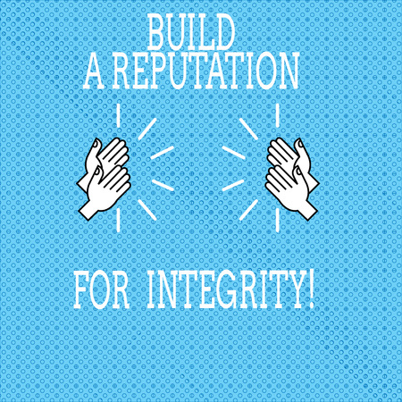 Text sign showing Build A Reputation For Integrity. Conceptual photo Obtain good feedback based on ethics Drawing of Hu analysis Hands Clapping with Sound icon on Seamless Tiny Circles