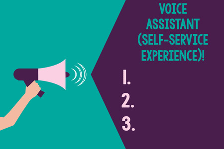 Writing note showing Voice Assistant Self Service Experience. Business photo showcasing Artificial intelligence chat bot Hu analysis Hand with Megaphone Sound Effect icon Text Space Stock Photo