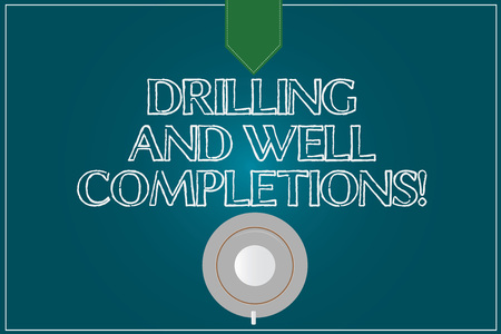 Text sign showing Drilling And Well Completions. Conceptual photo Oil and gas petroleum industry engineering Coffee Cup Saucer Top View photo Reflection on Blank Color Snap Planner