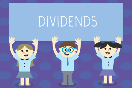 Writing note showing Dividends. Business photo showcasing sum of money paid regularly by company to shareholders out profits School Kids with Arms Raising up are Singing Smiling Talking Imagens