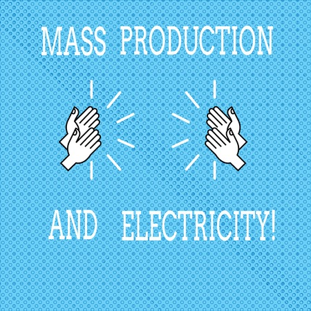 Text sign showing Mass Production And Electricity. Conceptual photo Industrial electrical power supply Drawing of Hu analysis Hands Clapping with Sound icon on Seamless Tiny Circles