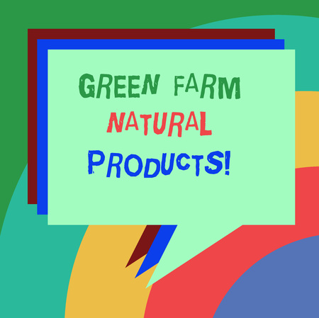 Conceptual hand writing showing Green Farm Natural Products. Business photo text Natural environment agricultural activities Stack of Speech Bubble Different Color Piled Text Balloon Фото со стока