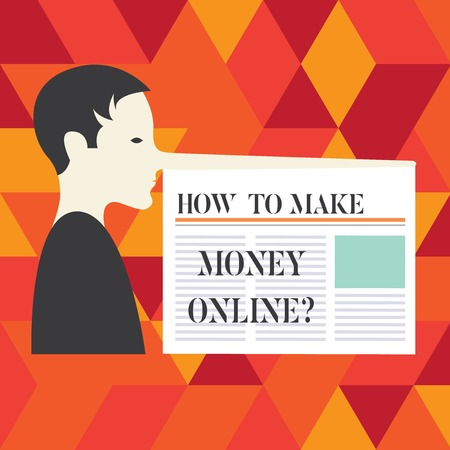 Writing note showing How To Make Money Onlinequestion. Business photo showcasing Strategies to get earnings on the internet Man with a Very Long Nose like Pinocchio a Blank Newspaper is attached