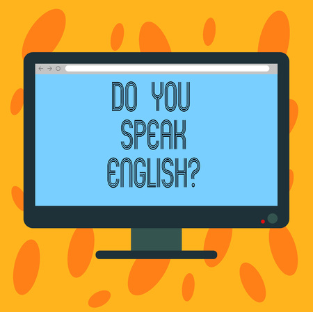 Writing note showing Do You Speak Englishquestion. Business photo showcasing Speaking learning different languages Blank Computer Desktop Monitor Color Screen Mounted with Progress Bar
