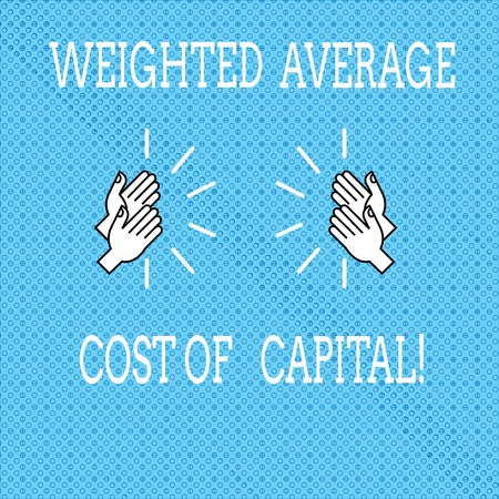 Text sign showing Weighted Average Cost Of Capital. Conceptual photo Wacc financial business indicators Drawing of Hu analysis Hands Clapping with Sound icon on Seamless Tiny Circles 스톡 콘텐츠