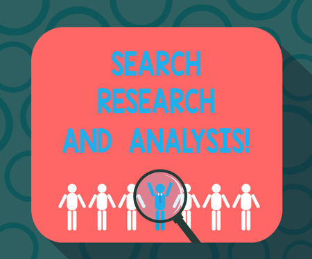 Writing note showing Search Research And Analysis. Business photo showcasing Investigation data information analytics Magnifying Glass Over Chosen Man Hu analysis Dummies Line Up 免版税图像