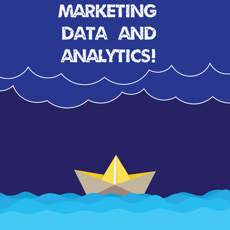 Writing note showing Marketing Data And Analytics. Business photo showcasing Advertising promotion statistical analysis Wave Heavy Clouds and Paper Boat Seascape Scene Copy Space Stockfoto