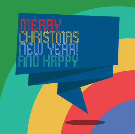 Conceptual hand writing showing Merry Christmas And Happy New Year. Business photo showcasing Holiday season greetings celebrations Folded 3D Ribbon Sash Speech Bubble photo for Celebration Stock Photo