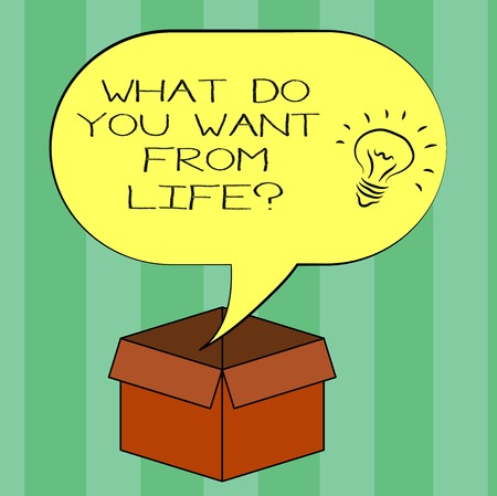 Handwriting text writing What Do You Want From Lifequestion. Concept meaning Express the things you would like to get Idea icon Inside Blank Halftone Speech Bubble Over an Open Carton Box 版權商用圖片