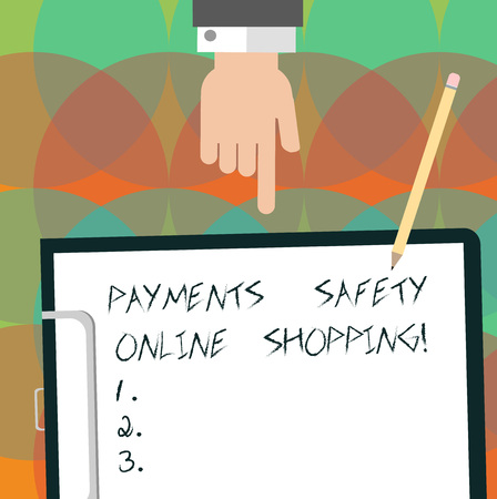 Conceptual hand writing showing Payments Safety Online Shopping. Business photo text Ecommerce security payment protection Hu analysis Hand Pointing Down to Clipboard with Paper and Pencil Banque d'images