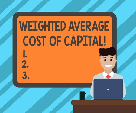 Text sign showing Weighted Average Cost Of Capital. Conceptual photo Wacc financial business indicators Blank Bordered Board behind Man Sitting Smiling with Laptop Mug on Desk