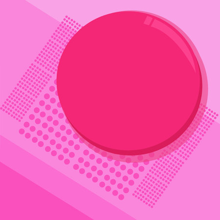 Flat design Vector Illustration Empty esp template copy text for Ad, promotion, poster, flyer, web banner, article. Circular Round Halftone Button Shining Reflecting Glossy with Shadow