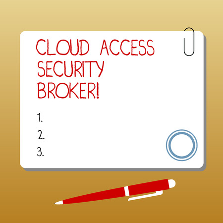 Writing note showing Cloud Access Security Broker. Business photo showcasing Safety business trading modern file storage Square Color Board with Magnet Click Ballpoint Pen and Clip