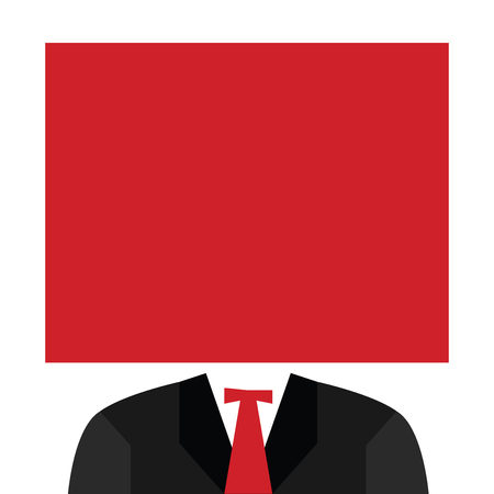 Flat design business Vector Illustration Empty copy space for Ad website promotion esp isolated Banner template. Black Coat and Tie Satin Lapel Tuxedo under Blank Square in solid color