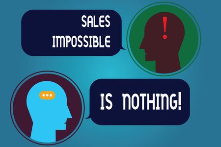 Writing note showing Sales Impossible Is Nothing. Business photo showcasing Everything can be sold Business strategies Messenger Room with Chat Heads Speech Bubbles Punctuations Mark icon Stockfoto