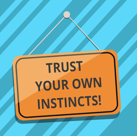 Text sign showing Trust Your Own Instincts. Conceptual photo Intuitive follow demonstratingal feelings confidence Blank Hanging Color Door Window Signage with Reflection String and Tack