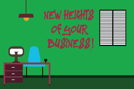 Conceptual hand writing showing New Heights Of Your Business. Business photo text Achieving goals fast growing up company Minimalist Interior Computer and Study Area Inside a Room