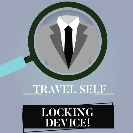 Writing note showing Travel Self Locking Device. Business photo showcasing Protecting your luggage Lock baggage on trip Magnifying Glass Enlarging a Tuxedo and Label Tag Below Archivio Fotografico