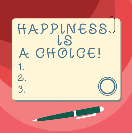 Word writing text Happiness Is A Choice. Business concept for Stay happy all the time cheerful inspired motivated Blank Square Color Board with Magnet Click Ballpoint Pen Pushpin and Clip