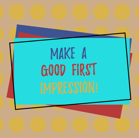 Writing note showing Make A Good First Impression. Business photo showcasing Introduce yourself in a great look and mood Pile of Blank Rectangular Outlined Different Color Construction Paper Imagens