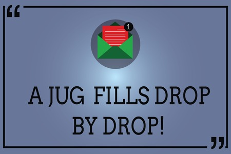Text sign showing A Jug Fills Drop By Drop. Conceptual photo Make little steps to slowly reach your goals Open Envelope with Paper New Email Message inside Quotation Mark Outline