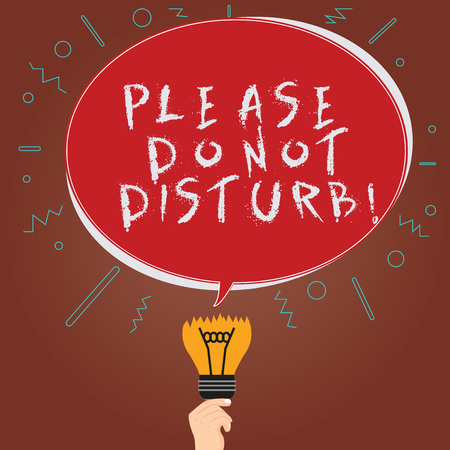 Conceptual hand writing showing Please Do Not Disturb. Business photo showcasing Let us be quiet and rest Hotel room sign Privacy Oval Speech Bubble Above a Broken Bulb with Failed Idea icon Stock fotó - 113425043