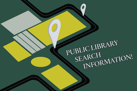 Conceptual hand writing showing Public Library Search Information. Business photo text Researching project investigation Road Map Navigation Marker 3D Locator Pin for Route Advisory Фото со стока