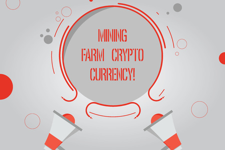 Handwriting text Mining Farm Crypto Currency. Concept meaning Block chain trading digital money business Two Megaphone and Circular Outline with Small Circles on Color Background Stock Photo