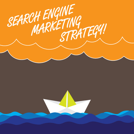 Handwriting text Search Engine Marketing Strategy. Concept meaning Advertising promotion optimization Wave Heavy Clouds and Paper Boat Seascape Scene photo Blank Copy Space Stockfoto