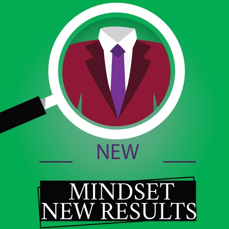 Text sign showing New Mindset New Results. Conceptual photo Open to Opportunities No Limits Think Bigger Magnifying Glass photo Enlarging Inspecting a Tuxedo and Label Tag Below
