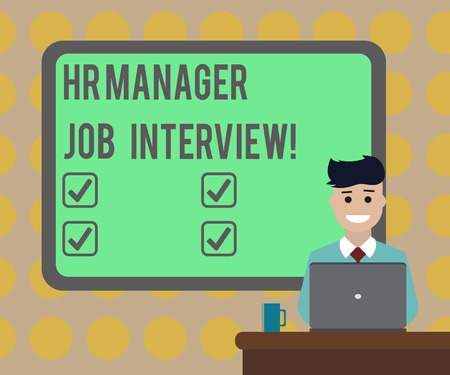 Word writing text Hr Manager Job Interview. Business concept for Recruitment huanalysis resources searching for employees Blank Bordered Board behind Man Sitting Smiling with Laptop Mug on Desk
