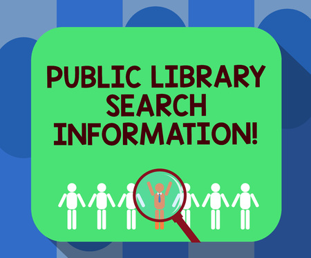 Handwriting text writing Public Library Search Information. Concept meaning Researching project investigation Magnifying Glass Over Chosen Man Figure Among the Hu analysis Dummies Line Up