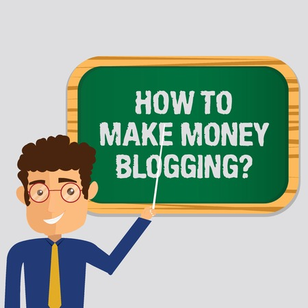 Handwriting text How To Make Money Bloggingquestion. Concept meaning Blogger online modern advertising Man Standing Holding Stick Pointing to Wall Mounted Blank Color Board Reklamní fotografie