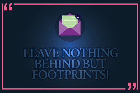 Conceptual hand writing showing Leave Nothing Behind But Footprints. Business photo text Do not look back always go forward Open Envelope with Paper Email Message inside Quotation Mark