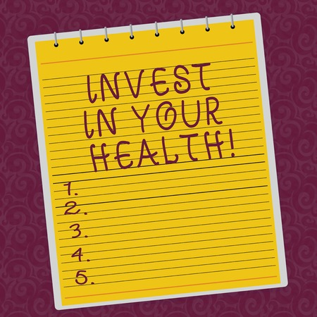 Writing note showing Invest In Your Health. Business photo showcasing Spend money in demonstratingal healthcare Preventive Tests Lined Spiral Top Color Notepad photo on Watermark Printed Background Standard-Bild
