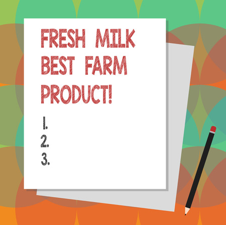 Text sign showing Fresh Milk Best Farm Product. Conceptual photo Good natural healthy organic dairy products Stack of Blank Different Pastel Color Construction Bond Paper and Pencil