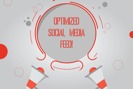 Handwriting text Optimized Social Media Feed. Concept meaning Search engine optimization digital feeds Two Megaphone and Circular Outline with Small Circles on Color Background