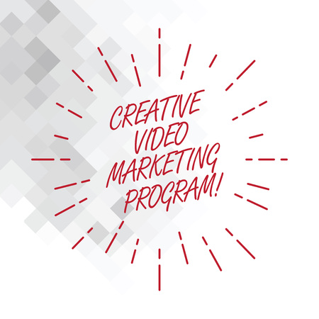 Conceptual hand writing showing Creative Video Marketing Program. Business photo showcasing Online modern advertising promotion ideas Thin Beam Lines Spreading out Sunburst Radiates on Squares